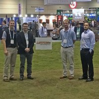 #okstate Turf Bowl team on the GIS trade show floor with #latitude36. #madeinoklahoma
